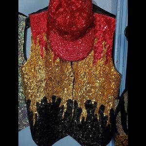 Vintage Sequin Vest/Hat Combo